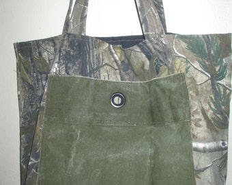 Big Tote Camo Camouflage Army Duffel Bag Upcycled Handmade Repurposed XL