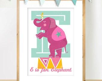 Scandinavian Nursery Print, E is for Elephant,  Circus Elephant Wall Art in Pink and Aqua , Retro Nursery Art