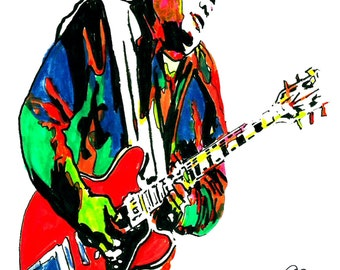 """Freddie King: POSTER from Original Drawing 18"""" x 24"""" Signed & Dated by Artist w/COA"""