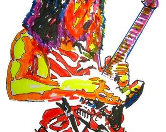 "Eddie Van Halen: POSTER from Original Dwg 18"" x 24"" Signed/Dated by Artist w/COA 3"