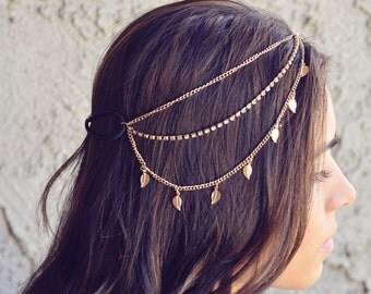 THE KARMA - Gold Leaves Rhinestone Indian Boho Bohemian Headband  Festival Hair Chain Accessories Flower Crown Gypsy Valentines Christmas