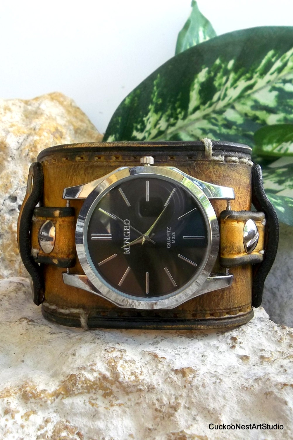 Distressed wrist watch mens leather watch by cuckoonestartstudio for Leather watch for men