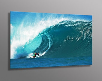 Surf Photography, Surfing a Big Wave at Pipeline in Hawaii  Aluminum Metal Photo Print  Surfer Home Decor Free Shipping