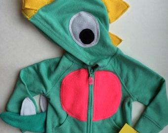 DINO! - Toddler Zipper Long Sleeve Hoodie - Mint Dinosaur - Handcrafted
