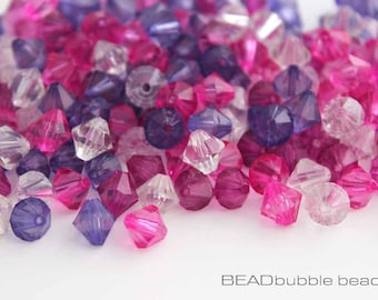 8mm Acrylic Plastic Bicone Beads Pink and Purple Mix Pack of 100 (ACR056)