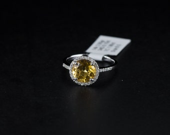 14k White Gold Yellow Topaz Halo Diamond Engagement Ring