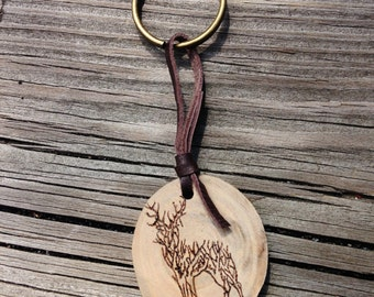 Deer Antler Wood Burned Keychain