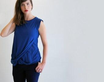 Blue Tank Top , Cobalt Blue Shirt, Women's Summer Top, Sleeveless Shirt
