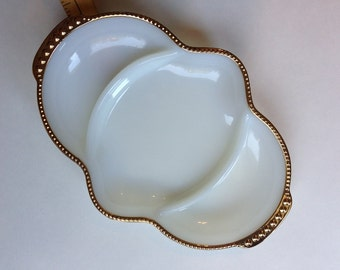 Fire King Milk Glass Relish Tray with Perfect Gold Trim, Divided Dish With Many Uses