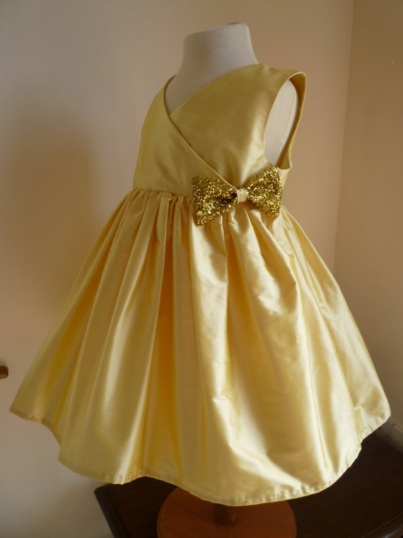 Gold Silk Bridesmaids Dress - Girls Dress - Custom Made to Order