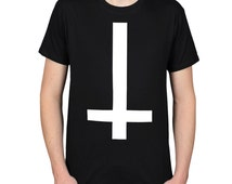 Inverted Cross Graphic Tee, Street Goth Shirt, Antichrist Satanic Illuminati Symbol T-shirt