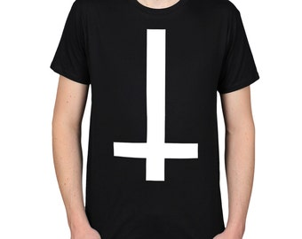 Inverted Cross Graphic Tee, Street Goth Shirt, Antichrist Satanic Occult Illuminati Symbol T-shirt