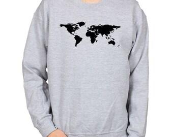 World Map Print Sweatshirt, Cosy Slouchy Sweater, Fleece Lined Shirt, Atlas Crewneck Jumper, Gift for Traveller