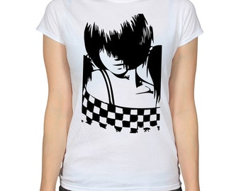 Two Tone T-Shirt, Ska Music Shirt, Checkers Pinup Girl Japanese Anime Manga Graphic Tee