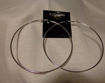 LARGE 4 inch Hoop Earrings Skinny Hoop SILVER Plated  HOOP earrings