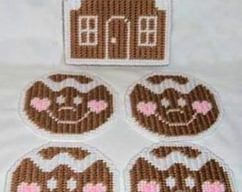 GINGERBREAD COASTER SET - Includes Gingerbread House Holder