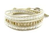 Beige Bracelet, Opal and Crystal Natural Wrap Bracelet