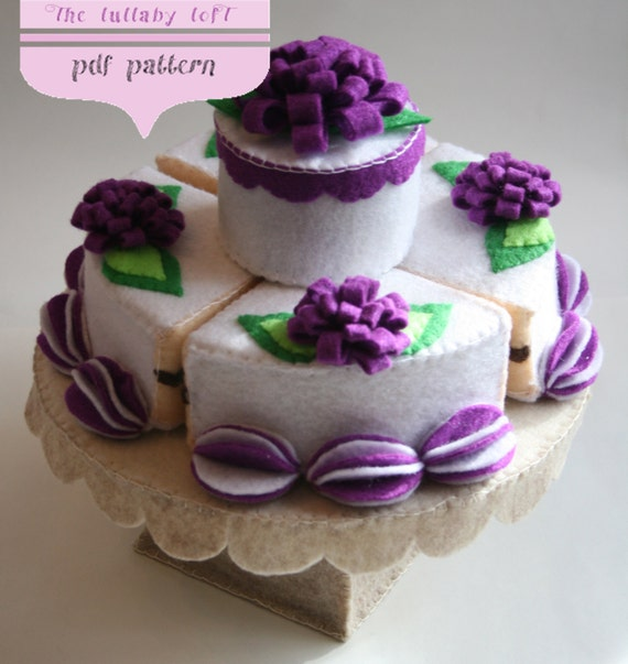 Felt Birthday Cake (2 Tier) --- PDF PATTERN ---                   with stand, candles & cake topper  --- INSTANT pdf Download ---
