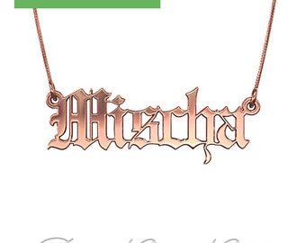 """Gothic Name Necklace in Rose Gold Plated Silver (1.0mm thick) - """"Mischa"""" design"""