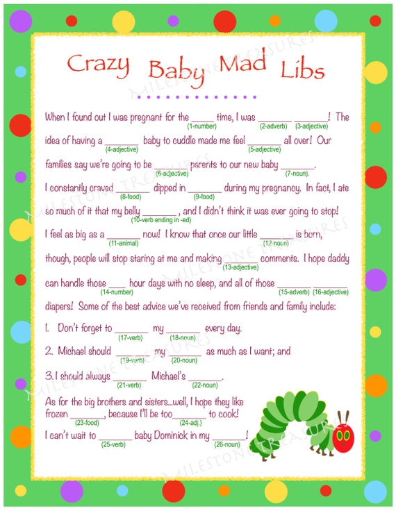 items similar to personalized crazy baby mad libs for digital download