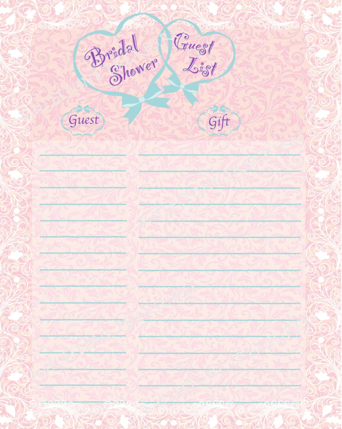 Wedding Gift List For Guests : Bridal Shower Guest & Gift List English Tea Damask Pink