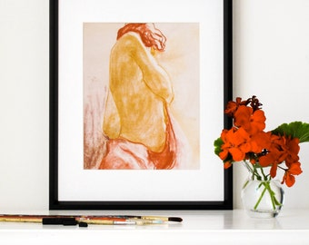 "Female Nude, Figure Drawing, Pastel Drawing, Earth Tones, Original, Giclee Print, 1970's Art, Aged Paper, Expressive, 8 X10"" - ""Orange Nude"""