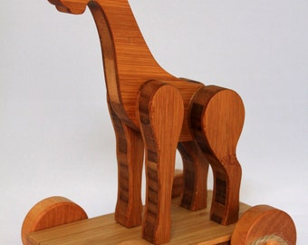 """Wooden Pull Toy  """"Bamboo Giraffe Pull Toy"""" Child Safe, Handcrafted from Reclaimed Bamboo, Eco-friendly by GiggleTree Toys"""