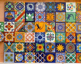 "50 Mexican Talavera Tiles handmade- Hand painted 2 ""X 2"""