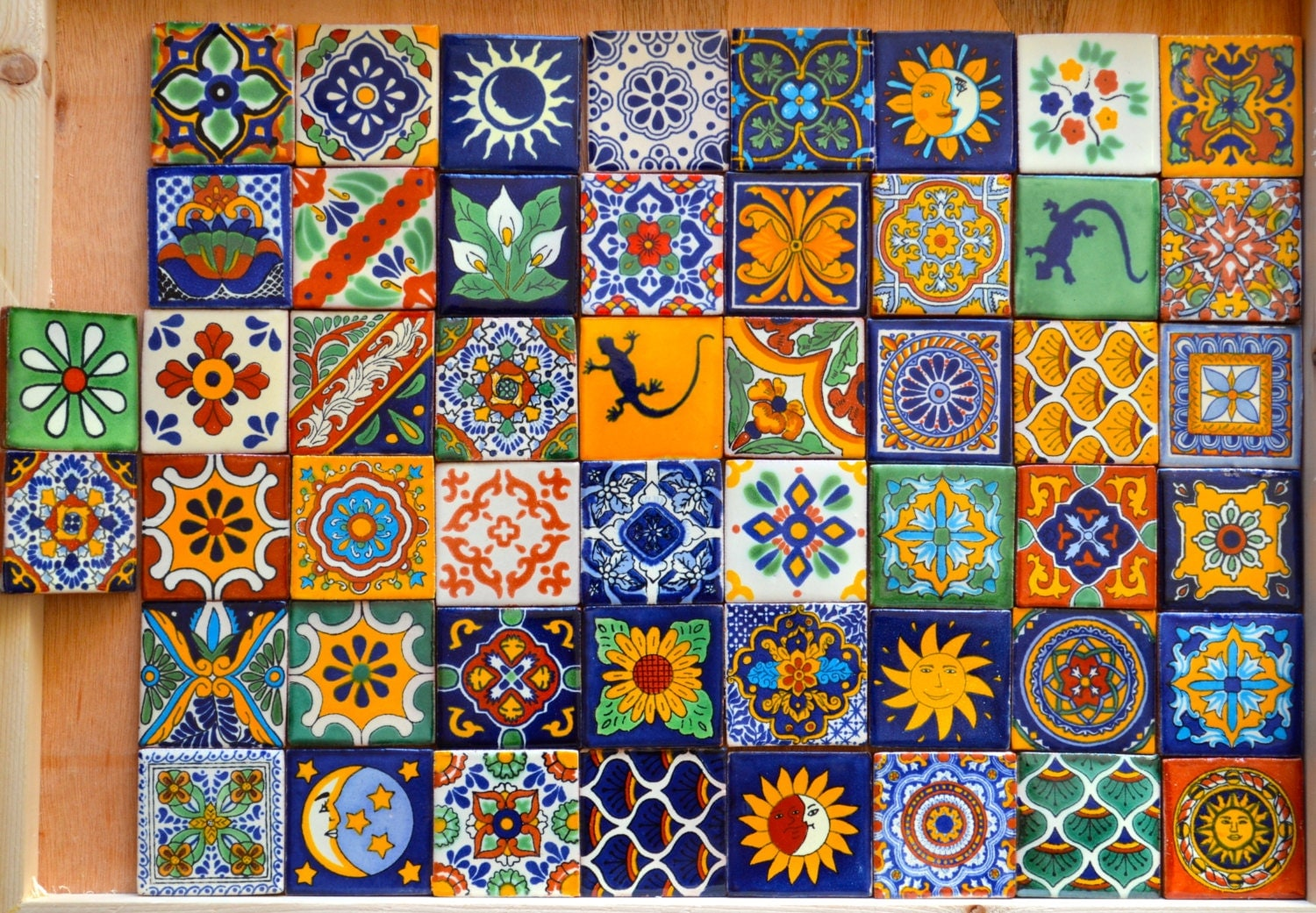 50 mexican talavera tiles handmade hand painted 2 x for Azulejo de talavera mexico