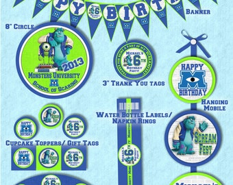 Monsters University Party Package - Printable and Customized with your party details - Mini or Deluxe Package - Digital Files