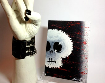 Skull Acrylic painting on canvas panel hanging wall décor