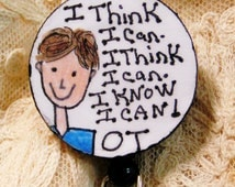 Novel Occupational Therapy (OT) Retractable ID Badge Holder with Male Cartoon Drawing And Inspirational Message.Make Your Patients Smile!