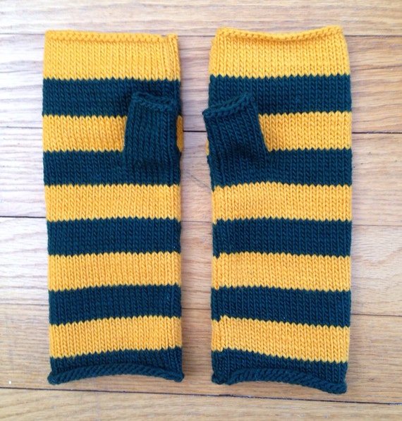 Fingerless Mittens Hand Warmers Striped in Soft Wool Green and Yellow Gold Green Bay Packers theme