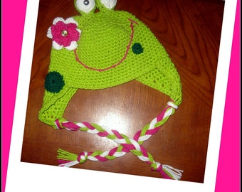 Frog Hat, Crocheted Hat, Photo Op Hat, Hat prop, Silly Hat, Toad Hat, Green Frog Hat with Pink Flower