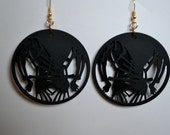 Abstract laser cut reflexive round earrings (black), double layered matboard