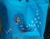 Beautiful medium-sized, deep blue, cotton tote bag, hand embroidered with Winter Night scene (designed by UrbanThreads.com).