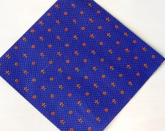 Vintage Vibrant Screen Printed Fleur De Lis Dotted Gift Wrap One Sheet & Partial Sheet