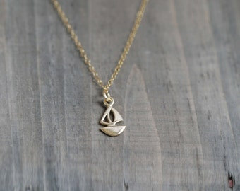 Tiny 14k Gold Filled Sailboat Necklace in Gold Filled chain