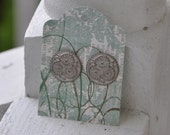 Flowers on White-washed Copper Disk Earrings (SS Post)