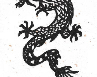 Original Dragon Linocut Print Greeting Card on Mulberry Paper with Envelope, Hand Pulled, Open Edition