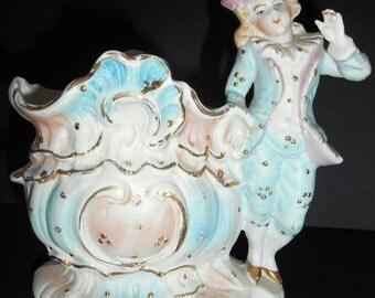 Antique Bisque Porcelain Figurine, boy leaning on vase