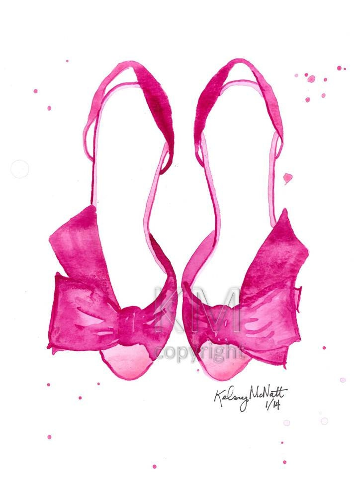 pink high heels fashion illustration watercolor painting