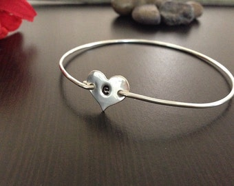 Personalized Hand stamped Jewelry- Heart Initial Bangle- Sterling Silver- Bracelet
