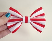 Red Nautical Stripes Fabric Hair Bow - Retro Hair Bow Clip - Handmade Cotton Fabric Hair Bow