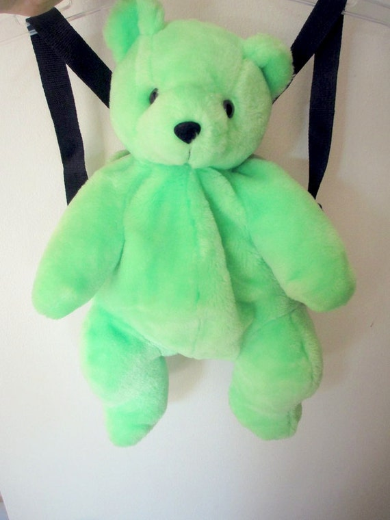 Sale Vintage 90s Neon Green Teddy Bear Doll Plush Backpack