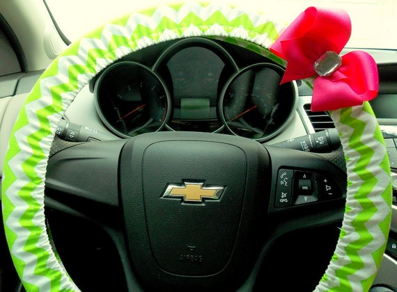 Steering Wheel Cover - Chevron Lime Green Car Accessories
