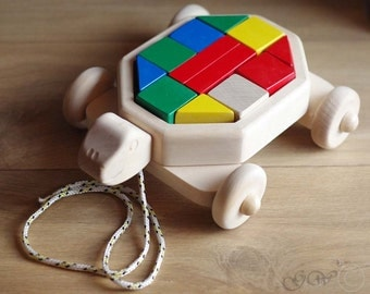 Wooden Pull Toy, Wooden Blocks, Wooden Toy Blocks Wagon, Wooden Turtle Toy Z406
