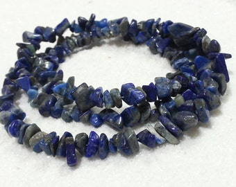 Lapis Lazuli Stone Chips Necklace; Gemstone Chip Necklace; Blue Chip Necklace