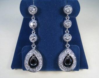 Black Onyx & Cubic Zirconia Dangling Earrings - 925 Sterling Silver