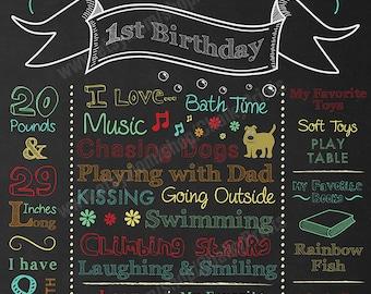 First Birthday Chalkboard Sign, Printable Chalkboard Art, 1st Birthday Chalkboard Poster, My First Birthday Chalkboard